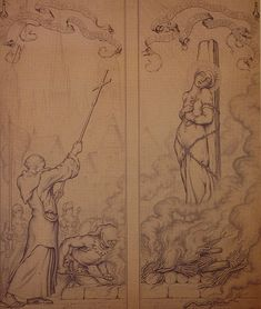 Chapel Dedicated to Joan of Arc: Joan at the Stake - 1931 Preparatory drawing
