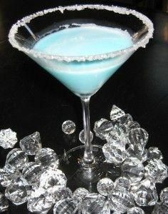 Tiffany Blue Martini!: 1/4 c. Malibu Rum, 1/4 c. pineapple juice, 1/8 c. blue curacao, 1/8 c. white creme de coacoa, dash or two of whipping cream~ rim a martini glass with sugar, add all ingredients with ice- shake and pour! tiffanyblue aqua #tiffanyblue #aqua