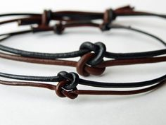 His and Hers love knot set - Leather - Adjustable - Celtic Infinity