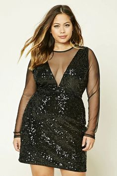 b79b93daaa9b8 A sequin sheath dress featuring an illusion plunging neckline and back