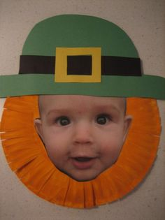 Cute photo paper plate Leprechaun! This would be a cute and easy craft for older kids on St. Patrick's day also!