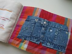 Upcycle kid clothes into an activity book. I had a book like this as a child.  It kept me busy during church and I learned how to do buttons and laces from working with this book.  I think it's a wonderful idea and I'm so glad I found it (again)!