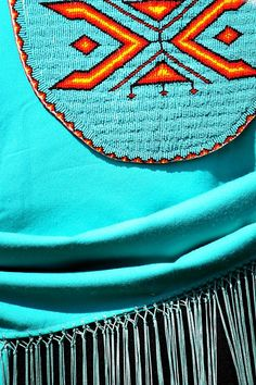 Detail of Native American beadwork -turquoise