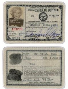 History In Pictures ‏@HistoryInPics  Marilyn Monroe's US Army-issued identity card.
