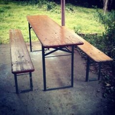Vintage Folding Biergarten table and benches. Rent me?