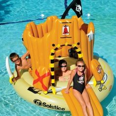 Massive 2m island with swim in centre and moat slide and includes 3 inflatable swords and shields. Kids can let their imagination run wild.Best Pool Toy this summer!