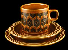 Hornsea Pottery Co. Ltd Hornsea 'Heirloom', a John Clappison design from 1967 was enormously popular at the time and is still widely sought on the second-hand market. It is a classic 'Retro' style. The decoration used a screen printed wax resist technique to produce a contoured finish.  Image: © Michael Perry 2010