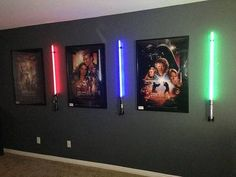 ThinkGeek :: Vertical Wall Mount for Star Wars Force FX Lightsabers ThinkGeek :: Vertical Wall Mount for Star Wars Force FX Lightsabers - Heimkino Systemdienste Star Wars Room Decor, Star Wars Bedroom, Nerd Room, Gamer Room, Nerd Cave, Star Wars Painting, Game Room Design, Star Wars Wallpaper, Star Wars Gifts