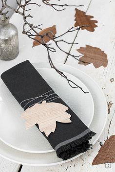 Furnier Blatt als Tischkarte Tischdekoration DIY