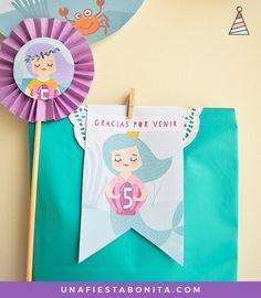 Etiquetas para bolsas de regalos - kit para imprimir - sirena mágica - Mermaid Printable Birthday Party Package
