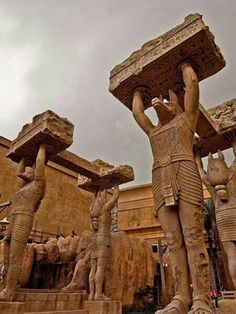 this is cool, I've never seen a picture of these columns. I believe they are statues of Anubis. - - - the pyramids of Giza, Egypt Ancient Egyptian Art, Ancient Ruins, Ancient History, Art History, European History, Ancient Artifacts, Ancient Greece, History Facts, Egyptian Temple