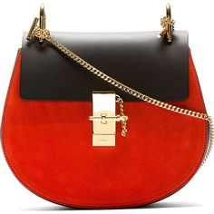 Chloé Black & Red Suede-Trimmed Drew Shoulder Bag ($1,650) ❤ liked on Polyvore featuring bags, handbags, shoulder bags, purses, bolsas, black shoulder bag, chain strap shoulder bag, leather purse, shoulder handbags and black leather handbags