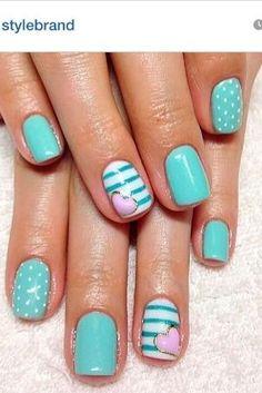 Gel nails #nailart #turquoise by AuBugsMommy14