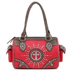 Handbags, Bling & More! Red Western Rhinestone Cross Studded Purse : Western Style Cross Purses