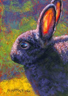 Bubblegum - Original Fine Art for Sale - by Rita Kirkman Rabbit Drawing, Rabbit Art, Bunny Rabbit, Animal Painter, Animal Paintings, Pastel Paintings, Rabbit Sculpture, Bunny Art, Fine Art Auctions