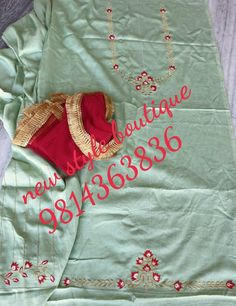 You can find different rumors about the history of the marriage dress; Latest Punjabi Suits Design, Designer Punjabi Suits Patiala, Punjabi Suits Designer Boutique, Patiala Suit Designs, Boutique Suits, Indian Designer Suits, Salwar Suits, Embroidery Neck Designs, Hand Work Embroidery