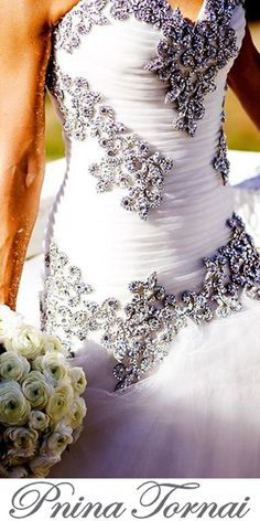 The Queen of Bling makes our dreams come true with this close up of their dazzling gown! Luxury Wedding Dress, Wedding Gowns, Dream Wedding, Pallas Couture, Pnina Tornai, Strictly Weddings, Yes To The Dress, Beautiful Gowns, Wedding Inspiration