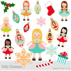 Christmas Dolls, Snowflakes and Decorations Clipart - Instant download