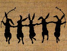 Rabbit Rabbits Dancing Dance Silhouette Holding Hands Easter Digital Image Download Transfer To Pillows Totes Tea Towels Burlap No. 2504. $1.00, via Etsy.