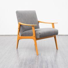 60er Jahre Sessel, Esche, neu gepolstert von VELVET-POINT VINTAGE STORE auf DaWanda.com