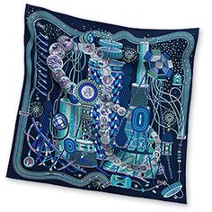 Le Laboratoire du Temps - Navy Blue Silk twill scarf, hand rolled, x Pierre Marie, Silk Scarves, Hermes Scarves, Paisley, Navy And White, Navy Blue, Vintage Scarf, Scarf Styles, Women Wear