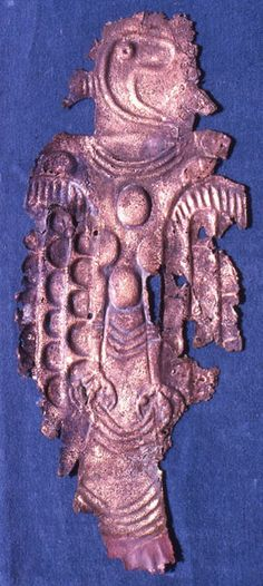 "Embossed Copper Plate - Identified as a peregrine falcon, the bird figure has a distinctive ""weeping eye"" motif that appears in many falcon depictions on religious paraphernalia associated with the Southeastern Ceremonial Complex - Craig Mound, Spiro Mound Complex - Eastern Oklahoma"