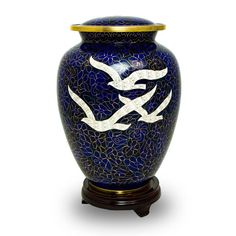 Cloisonne Going Home Doves Brass Cremation Urn for Human Ashes - Large - Holds Up to 200 Cubic Inches of Ashes - Dark Blue Skull Pendant, Pendant Jewelry, Human Ashes, Memorial Urns, Cremation Urns, Black Stainless Steel, Going Home, Flower Pendant, Custom Engraving