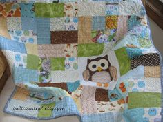 Handmade+scrappy+owl+quilt+blue+baby+blanket+by+quiltcountry,+$145.00