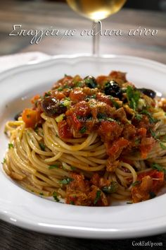 Greek Cooking, Cooking Time, Cooking Recipes, Healthy Recipes, Healthy Food, Pasta Dishes, Salads, Spaghetti, Food Porn