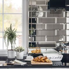 The mirror tile will perfectly complement modern and elegant interiors. Walls of the bathroom, kitchen or living room covered with a silver mirror panel visually enlarge and illuminate the interior. Mirror Tiles, Subway Tile, Shelves, Living Room, Modern, Kitchen, Bathrooms, Walls, Interiors
