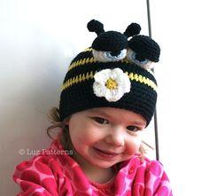 Crochet hat pattern crochet baby busy bee hat by LuzPatterns, $3.99