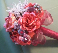 RED BRIDAL BOUQUET, biscuit flowers ,brooches and beads, modern and magnificent | eBay