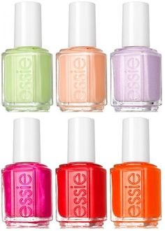"""Essie Spring Collection 2012 - A Spring to Invest In - from BeautyGeek: """"From top left: Navigate Her (fresh new green), A Crewed Interest (peach),To Buy or Not to Buy (pale lilac shimmer), Tour de Finance (shimmery, metallic-esque fuchsia), Olé Caliente (fruity scarlet), and Orange, It's Obvious (tangy orange)."""""""
