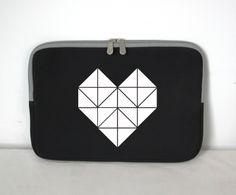 """Laptoptasche / Origami Herz / für 13"""" von EULENSCHNITT HAMBURG auf DaWanda.com"""