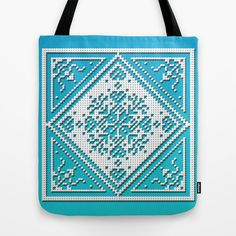 Tote Bag - Scandinavian Snowflake design on aqua and blue background – Fischer Fine Arts