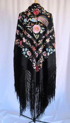 Vintage Canton Silk Shawl (I want so bad!! I own about 15 shawls!)
