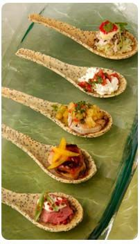 AMAZING! edible spoons by www.ediblesbyjack.com flavors: poppy seed, coconut curry, parmesan basil... I DIE! Sweet or savory. Perfect for serving appetizers, this eliminates the cracker!