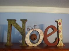 Christmas Decor Wood Letters Noel With Antique by thepatternbag, $49.99