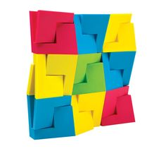 The blocks' flat planes and interlocking joints encourage children and adults alike to view geometry as play.They comein two sizes and four colors.