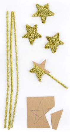 Tinsel stars with pipe cleaners & cardboard! We could make in all sizes. I have a weekly supply of cardboard come through the store I can start saving. we could spray paint really large ones too!: