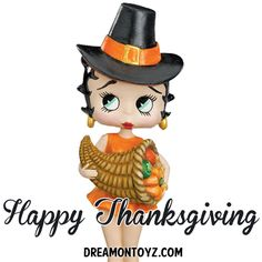 Happy Thanksgiving  ~ More Betty Boop Graphics & Greetings: http://bettybooppicturesarchive.blogspot.com/ ~And on Facebook~ http://facebook.com/bettybooppictures Pilgrim #BettyBoop holding a cornucopia of fruits and vegetables #vegan