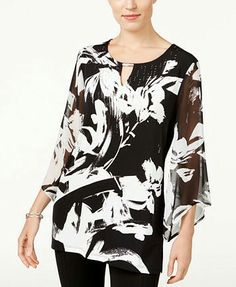 Jm Collection Printed Chiffon-Sleeve Top, Only at Macy's White Outfits, Casual Outfits, Super Moda, Unique Costumes, Look Fashion, Womens Fashion, Print Chiffon, Long Blouse, Casual Summer Dresses