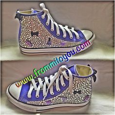 Girly Custom Converse by From Mi To You. www.frommitoyou.com #junkchucks#customconverse Custom Converse, Girly Girl, Converse Chuck Taylor, High Top Sneakers, Bling, Purple, Boys, Shopping, Fashion