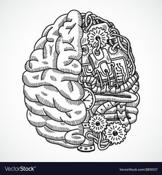 Buy Brain as Processing Machine by macrovector on GraphicRiver. Human brain as engineering processing machine sketch concept vector illustration. Editable EPS and Render in JPG format Griffonnages Kawaii, Tattoo Drawings, Art Drawings, Brain Tattoo, Brain Art, Psy Art, Ink Illustrations, Brain Illustration, Anatomy Art
