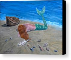 Mermaid's Stories Wood Print by Faye Anastasopoulou. All wood prints are professionally printed, packaged, and shipped within 3 - 4 business days and delivered ready-to-hang on your wall. Oil Image, Mermaid Stories, Canvas Art, Canvas Prints, Art For Sale Online, Female Girl, Realism Art, Canvas Material, Artist At Work