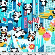 An adorable panda practices its ninja moves and discovers the culinary delights of New York City in this fun print! This fun fabric is printed in Japan, but designed in the USA.This quilting weight fabric is 100% cotton and is 43/44