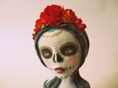 Day of the Dead. Art Doll. Stump Doll. One of a kind hand sculpted mixed media day of the dead art doll by amber leilani