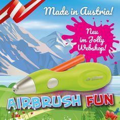 Patrone einlegen und lossprühen - mit Jolly Airbrush Fun sind der Kreativität keine Grenzen gesetzt. Airbrush, Shops, Bellisima, Kindergarten, Gadgets, How To Make, Pickling, Good To Know, Cool Ideas