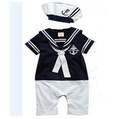 Koly mameluco del bebé Sombrero Algodón Armada unidos bebé traje de marinero #regalo #arte #geek #camiseta
