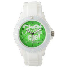 Chef; Neon Green Stripes Watch